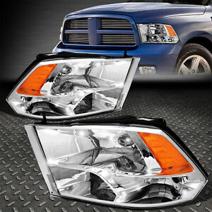 For 09 18 Ram 1500 2500 3500 Chrome Housing Amber Corner Headlight Head Lamps