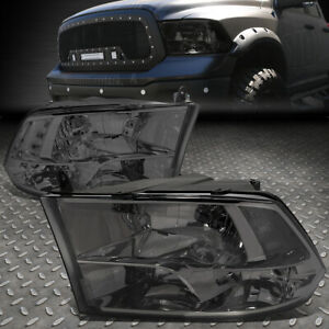 For 09 18 Ram 1500 2500 3500 Smoked Housing Clear Corner Headlight Head Lamps