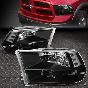 For 2009 2018 Dodge Ram Pickup Black Housing Clear Side Quad Headlight lamp Set
