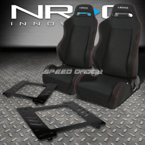 Nrg 2 Type R Red Stitches Racing Seats Bracket For 67 69 Chevy Camaro Firebird