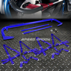 Blue 49 Stainless Steel Chassis Harness Bar Blue 6 Pt Strap Camlock Seat Belt