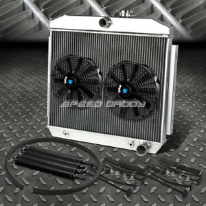 3 Row Radiator 2x 10 Fan Oil Cooler Black 55 57 Chevy Small Block 150 210 Sbc V8