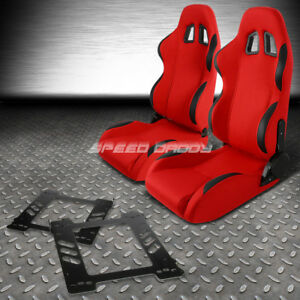 Reclinable Red Fabric Black Trim Racing Seat Bracket For 92 99 Bmw E36 Coupe M3