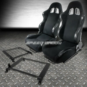 2x Woven Cloth Carbon Look Racing Seats low Mount Bracket For 01 05 Honda Civic