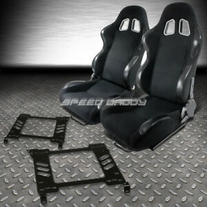 2x Woven Cloth Carbon Look Racing Seats bracket For 98 02 Honda Accord 2dr Coupe
