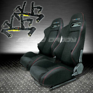 Nrg 2x Type r Fully Reclinable Black Racing Seat seats sliders 4pt Harness Belt