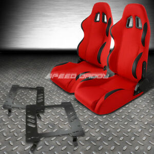 Reclinable Red Fabric Black Trim Racing Seat Bracket For 68 72 Chev Chevelle Ss