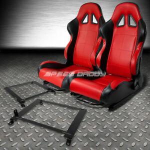 2 X Red Black Pvc Leather Racing Seats Low Mount Bracket For 01 05 Honda Civic