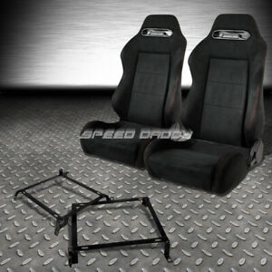 2x Suede Type R Reclinable Racing Seats Bracket For 89 98 Nissan 240sx S13 S14