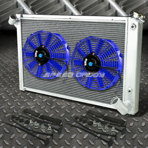 3 Row Aluminum Radiator 2x 9 Fan Blue For 68 82 Chevy Small Block Corvette V8