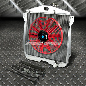 3 row Aluminum Radiator 1x 16 fan Red For 46 48 Chevy Fleetline stylemaster I6