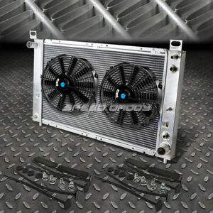 2 row Aluminum Radiator 2x 9 Fan Kit For 99 07 Yukon sierra tahoe escalade V8
