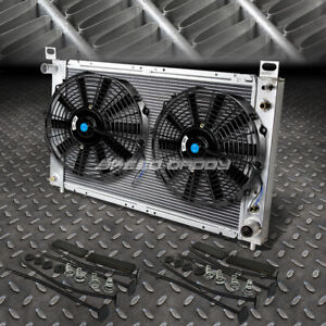 2 row Aluminum Radiator 1x 14 fan Kit For 99 07 Yukon sierra tahoe escalade V8
