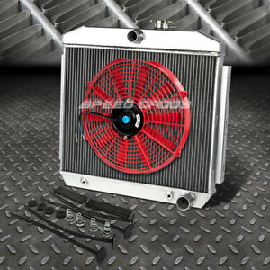 3 Row Aluminum Radiator 1x 16 Fan Red For 55 57 Chevy Small Block 150 210 Sbc V8