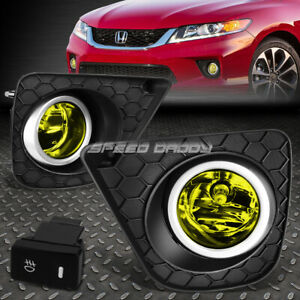 For 13 15 Honda Accord Coupe Amber Lens Bumper Fog Light Lamps W bezel switch