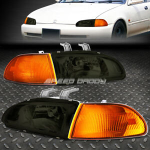 Smoked Housing Oe Fitment Headlight Amber Corner For 92 95 Civic Eg Eh Ej 4dr
