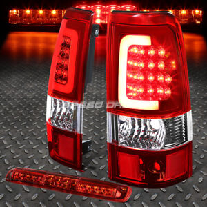 Chrome Housing Red 3d Led Tail Light 3rd Cargo Brake Lamp For 03 07 Silverado