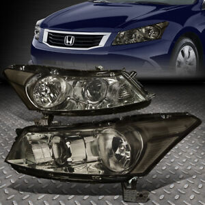 For 2008 2012 Honda Accord Sedan Pair Smoked Housing Clear Corner Headlight Lamp