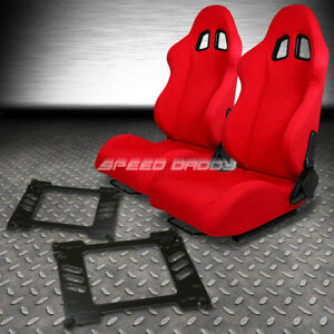 2 X Red Type F1 Reclinable Racing Seats Bracket For 92 95 Honda Civic Eg Ej1 Eh