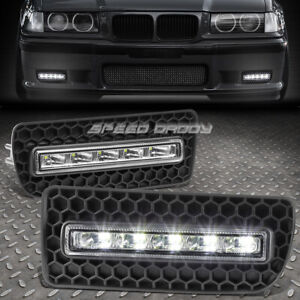 For 92 99 Bmw E36 3 Series 4d 5d Bumper Fog Grill Led Drl Day Time Running Light