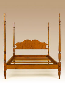 King Size Antique Style Bed Frame Tiger Maple Wood Quality Made In Usa Furniture