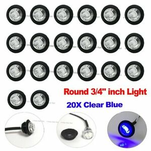 20x 3 4 Bullet Clear Blue Round Clearance Side Marker Truck Trailer Led Light