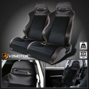 Leather Jdm Red Stitch Pvc suede Racing Seats 1 Pair
