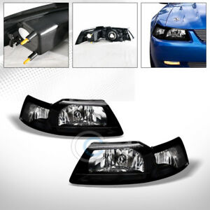 Oe Black Clear Housing Head Lights Corner Signal Lamps Nb 1999 2004 Ford Mustang