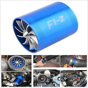Aluminum Alloy Car Air Intake Turbonator Double Fan Turbine Turbo Gas Fuel Saver