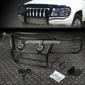 Black Brush Grill Guard round Clear Fog Light For 99 04 Jeep Grand Cherokee Wj