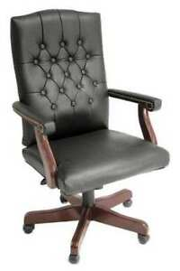 Executive Chair Vinyl Upholstery Overall Height 45 To 49 Seat Width 24 Black