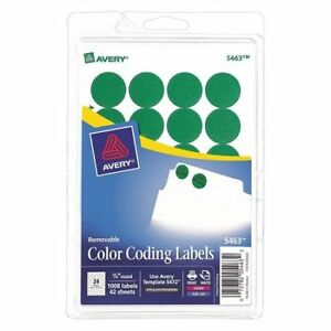 Avery 727825463 Avery Green Removable Print Or Write Color Coding Labels For