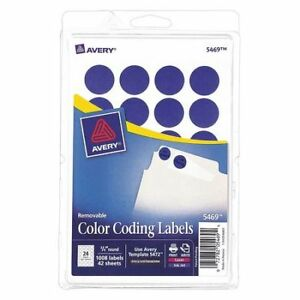 Avery 727825469 Avery Dark Blue Removable Print Or Write Color Coding Labels
