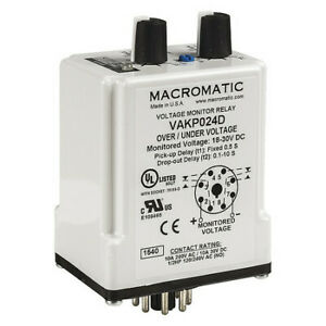 Voltage Monitor Relay 24vdc Plug in Macromatic Vakp024d