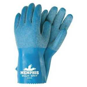 Mcr Safety 6852l Natural Rubber Latex Coated Gloves Full Coverage Blue L Pr
