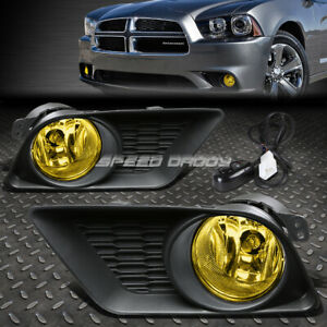 For 11 14 Dodge Charger Yellow Lens Oe Bumper Fog Light Lamp Pair switch Kit