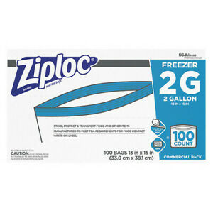 Ziploc 94605 Reclosable Bag 2 Gal clear plastic pk100