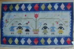Old Original Turkish Kilim Rug Nomadic Pictorial Design Handmade Very Rare