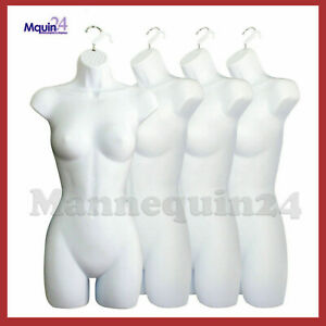A Lot Of 4 White Mannequin Female Dress Forms Women s Plastic Hanging