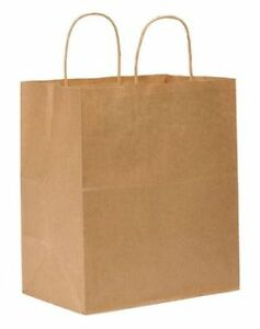 Zoro Select 12r091 Shopping Bag Flat Bottom Bistro Brown Paper Twist Handles