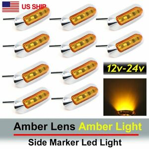 10x Amber 4 Smd Led Side Marker Tail Light Clearance Lamp Truck Trailer 12v Us