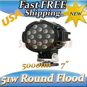 51w Round Led Light 7 Work Off Road Fog Driving Roof Bar Bumper Flood 4wd Utv