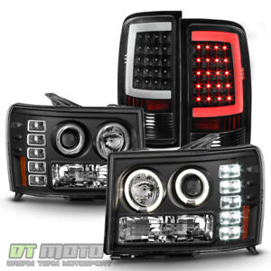 2007 2013 Gmc Sierra 1500 2500hd Projector Headlights neon Tube Led Tail Lights