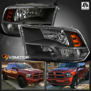 2009 2018 Dodge Ram 1500 2500 3500 Black Quad Headlights Lamps Left right