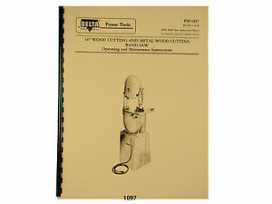 Delta Rockwell 14 Band Saw Older Style Operating Parts List Manual 1097