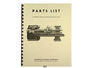Hendey 12 And 18 Speed Geared Head Lathe Parts List Manual 373