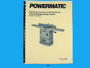 Powermatic Model 54a 54hh Jointer Operating Instruction Parts Manual 290