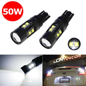 2 High Power 50w Cree T10 Led Bulbs For Car Backup Reverse Lights 912 921 T15