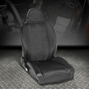 Pvc Leather Black Stripe Reclinable Sport Style Racing Seat Passenger Right Side