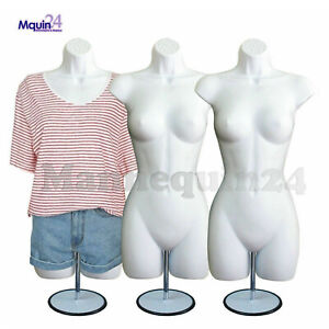 3 White Female Mannequin Torsos W 3 Metal Stands 3 Hooks women s Dress Forms